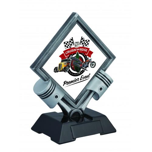 Twin Piston Diamond Resin Trophy GS Dudleys Wholesale - Piston car show trophies