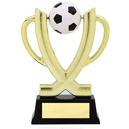"""25"""" Soccer Cup Spinner trophy. Comes with 3 lines of printing on a ..."""